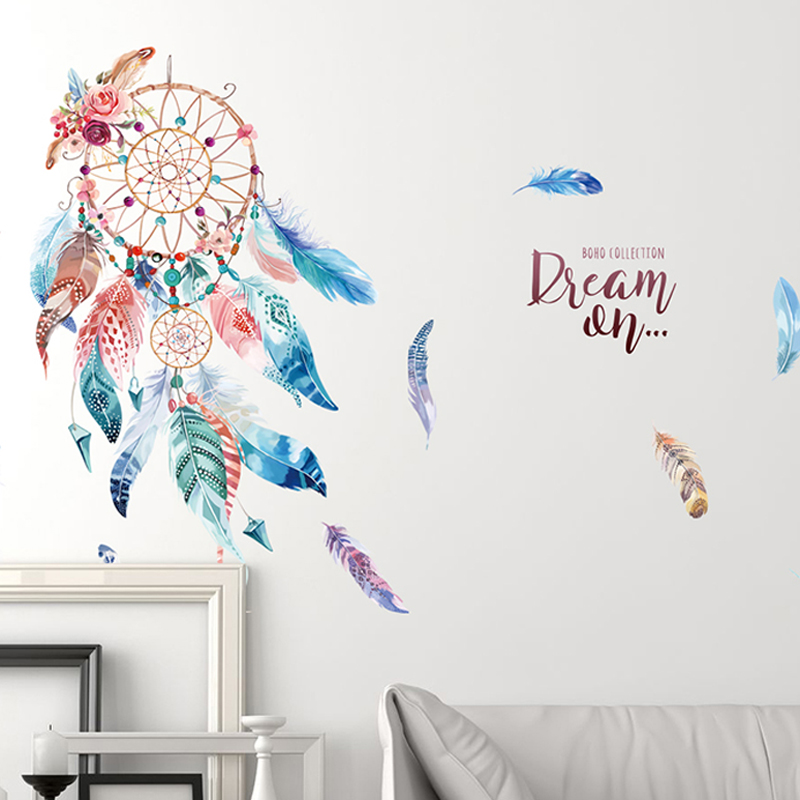 Colourful Feathers Dream Catcher Wall Art Stickers For Office Shop Study Room Home Decoration Diy Pvc Wall Mural Decals