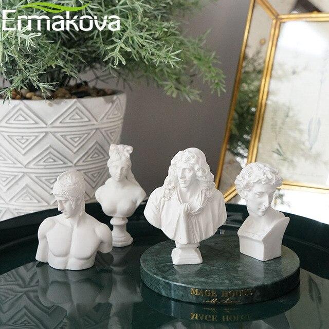 ERMAKOVA 10 Pcs/Set Different Plaster Bust Figurine Mini Ancient Greek Roman Mythology Figure Bust Sketch Statue Home Decoration 3