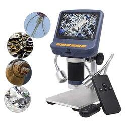 Pulpit Mini mikroskop 220X powiększenie USB mikroskop cyfrowy 4.3 cala + LED Light do naprawy lutowania do oceny jakości biżuterii|Mikroskopy|   -