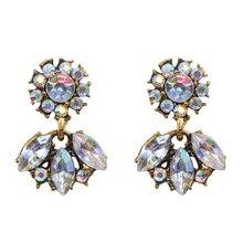 Multiple Colors Crystal Flower Stud Earrings Geometric Metal Dangle Trendy Women Jewelry Party Cute 2019