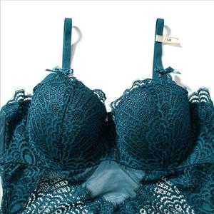 Image 5 - Sexy évider dentelle Bustiers Corsets avec Push Up demi tasse soutien gorge sous vêtements maille Transparent body femmes Lingerie