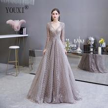 דובאי יוקרה ארוך שרוול שמלת ערב 2020 מדהים V צוואר תחרה קפלים חרוזים קריסטל פורמליות שמלה