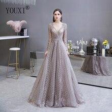 두바이 럭셔리 긴 소매 이브닝 드레스 2020 화려한 v 목 레이스는 페르시 크리스탈 섹시한 공식적인 가운을 pleated