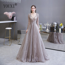 Dubai Luxury Long Sleeve Evening Dress 2020 Gorgeous V Neck Lace Pleated Beaded Crystal Sexy Formal Gown