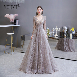 Image 1 - Dubai Luxury Long Sleeve Evening Dress 2020 Gorgeous V Neck Lace Pleated Beaded Crystal Sexy Formal Gown