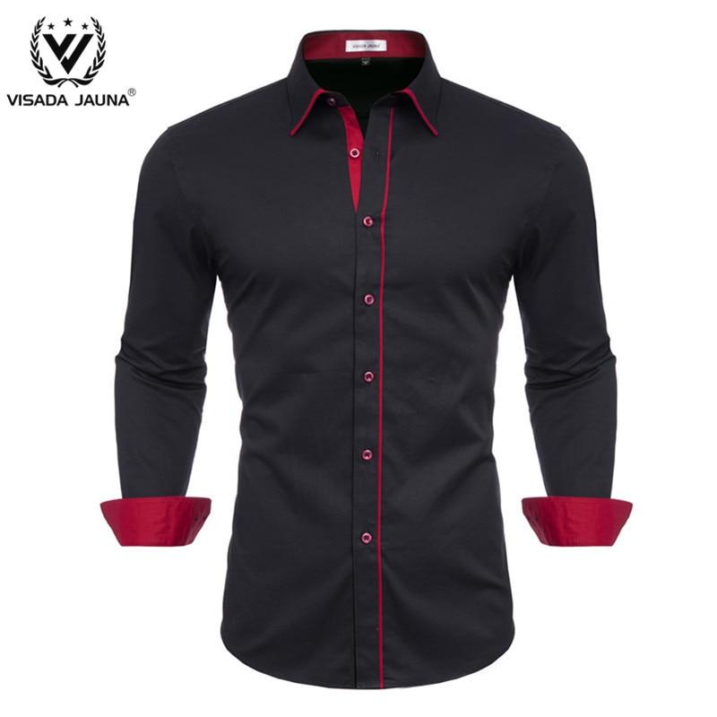VISADA JUANA 2019 Men's Casual Shirt Slim Fit Long Sleeve Men Shirt Mens Casual Button Down Shirt Long Sleeve Formal Dress Shirt