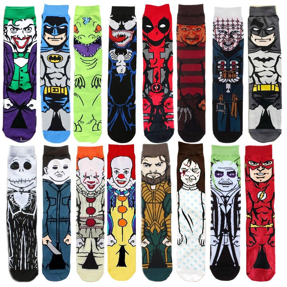 Avengers  Cartoon Socks Batman Superman Clown Joker Cosplay Fashion Sock Novelty Funny Casual Men Sock Skateboard Socks
