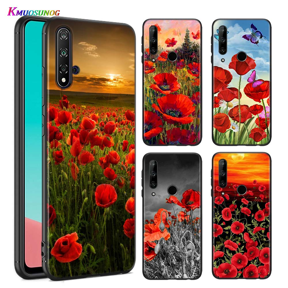 Silicone Cover Red Poppies flowers painting for Huawei P Smart Z S Plus 2019 2020 Nova 2i 2 Lite 3 3e 4 4e 5 5i 5T 7i Phone Case