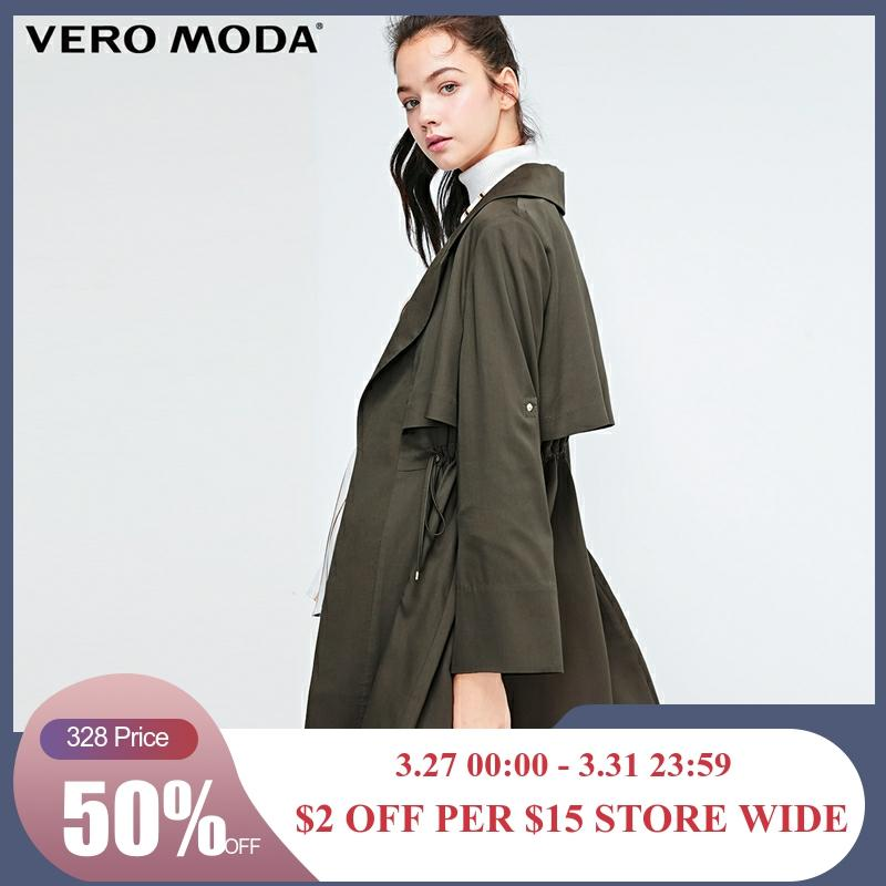 Vero Moda Women's Lace-up Two-way Sleeves Lapel Pure Trench Coat | 318321517