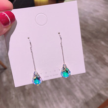 Women's earrings fashion jewelry natural gradient mermaid tears water drops blue S925 silver Hanging earrings stone E1244 women s earrings fashion jewelry natural gradient mermaid tears water drops blue s925 silver hanging earrings stone e1244