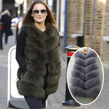 Vest Gilets Fox-Fur Natural Winter Genuine-Leather Full-Pelt Women Waistcoat BIGSALE