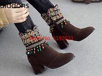 Лидер продаж; зимние сапоги; женская модная кожаная обувь на молнии с бахромой и бусинами; коллекция 2019 года; большие размеры 34-43; D116