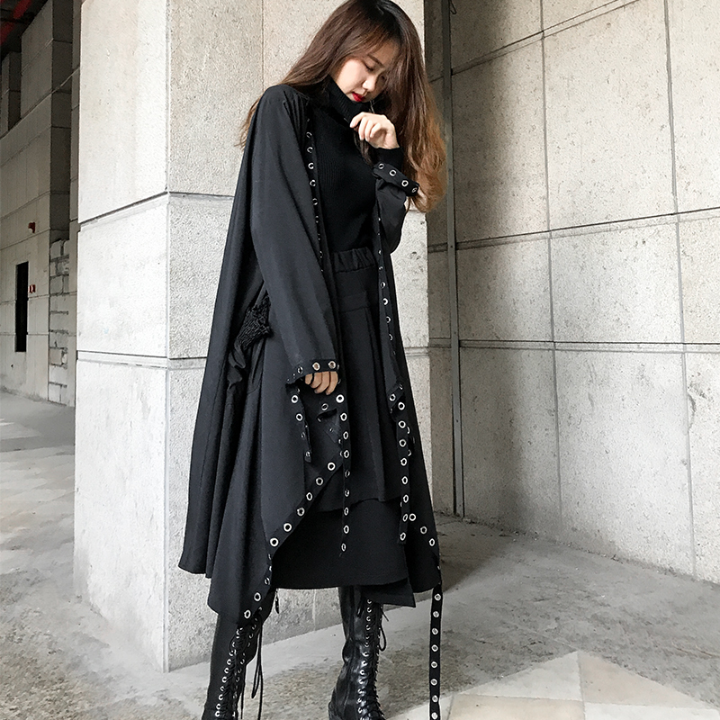 LANMREM 2019 New Fashion Rivet Ribbon Thin Type Black Windbreaker Women's Jacket Overcoat Female's Personality Vestido JH36901