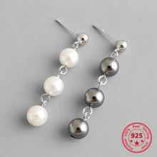 925 Sterling Silver Earrings Chic Fashion Black and White Pearl Long Earrings Woman Jewelry Gift fashion jewelry golden triangle small black white glass drop earrings woman gift