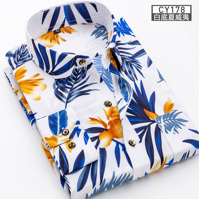 Men Shirt Long Sleeve Floral Printing Plaid Fashion Pocket Casual Shirts 100% Polyester Soft Comfortable Men Dress Shirt DS375 10