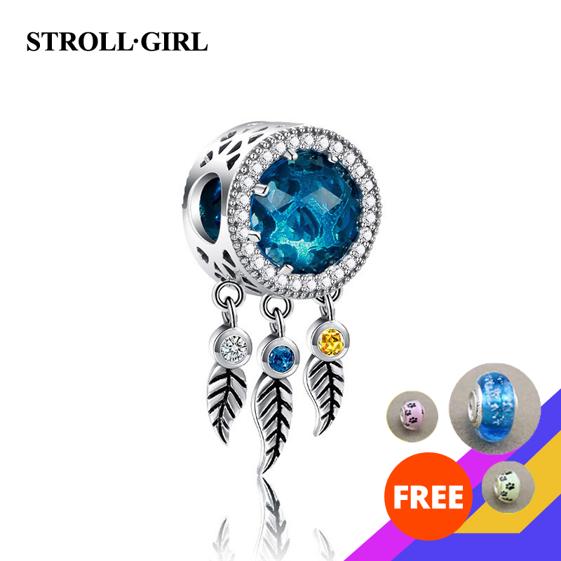 strollgirl 925 Sterling Silver Pendant Dream Catcher Charm fit Women Charm Pandora Bracelets & Necklaces Jewelry making gift|Beads| |  - title=
