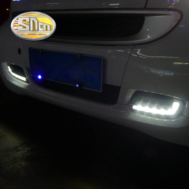 SNCN LED Daytime Running Light For Smart Fortwo 2008 2009 2010 2011 Car Accessories Waterproof ABS 12V DRL Fog Lamp Decoration