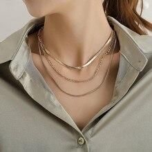 Nova moda colar de jóias multi-camada simples cor corrente colar boêmio pingente de colar de declaração nnecklace feminino bijoux