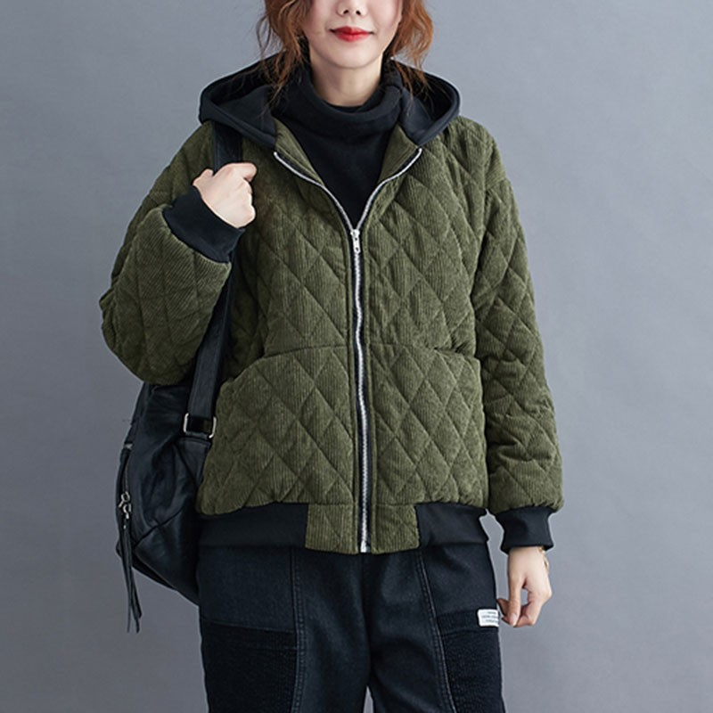 Women Thick Warm Parka Jackets New Arrival 2020 Winter Simple Style Vintage Corduroy Loose Female Cotton Hooded Coats S2655