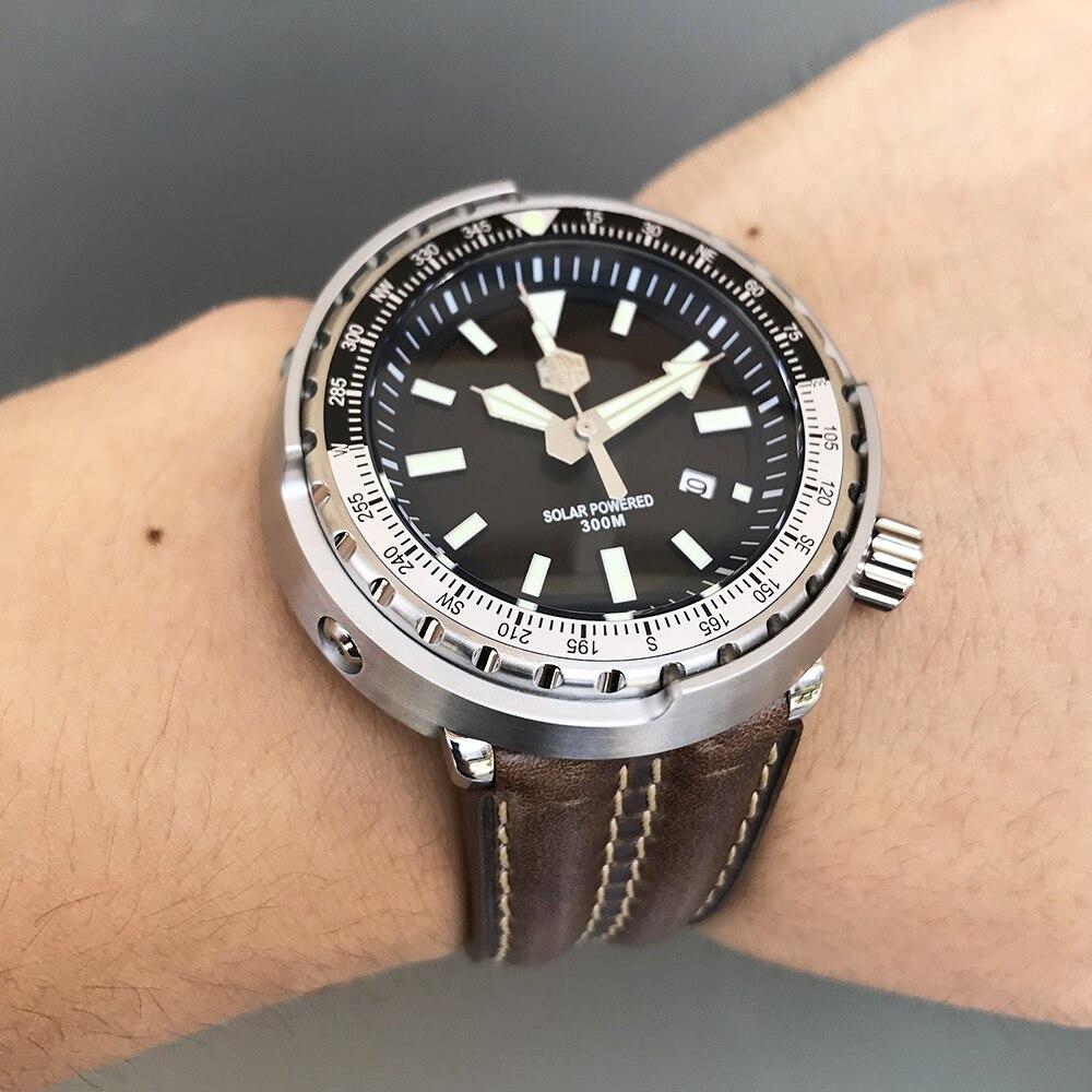 Relojes de pulsera San Martin nuevo atún SBDC035 relojes de buceo de acero inoxidable 30ATM Solar VS37 reloj de cuarzo para hombres y mujeres-in Relojes de cuarzo from Relojes de pulsera    1