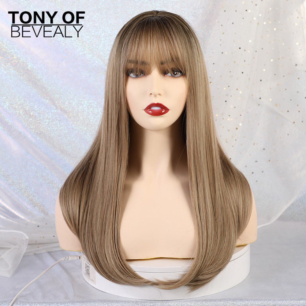 Image 3 - Long Straight Black to Beige Ombre Synthetic Wigs With Bangs For Women Natural Daily Party Hair Wigs Heat Resistant FiberSynthetic None-Lace  Wigs   -