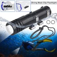 Mini mergulho luz máscara de mergulho lanterna profundidade subaquática tocha diver mergulho profissional lâmpada bolso 100 metros