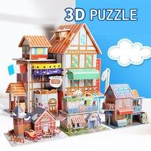 Crianças 3d estéreo quebra-cabeça dos desenhos animados casa castelo modelo de construção diy artesanal aprendizagem precoce brinquedos educativos presente para crianças