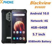Blackview BV6600 sağlam telefon 4GB 64GB Android 10.0 5.7 inç 8580mAh pil ağ 4G üçlü geri kameralar