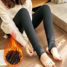 Womens Winter Plus Velvet Thickening Stepping Leggings Women Knit Casual Wild Warm Legging Female Colorful Pencil Feet Pants