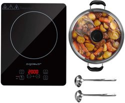 Aigostar Set Blackfire - 2000W Multifunction Induction Plate with Digital Display, stainless steel pot, ladle and skimmer