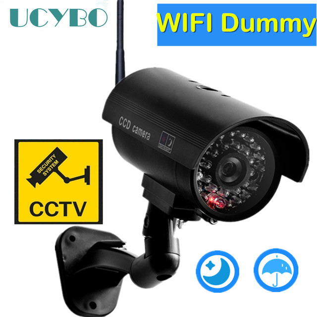 Dummy camera cctv video surveillance cameras w/ wifi antenna infared IR LED flashing battery powered security fake camera