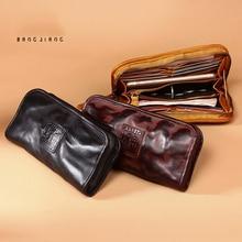 Genuine Leather wallet men's long large capacity cowhide han