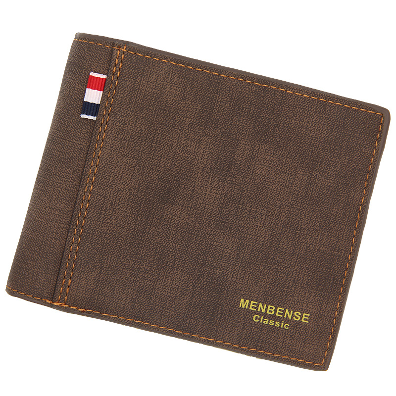 Men's Wallet Money Bag Solid Color Leather Business Short Wallet Famous Vintage Male Walltes Purse 4