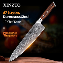 """XINZUO 10"""" inch Chef Knives Damascus Steel Professional Gyotou Knife Kitchen Chef Accessories with Rosewood Handle Kitchen Tools"""