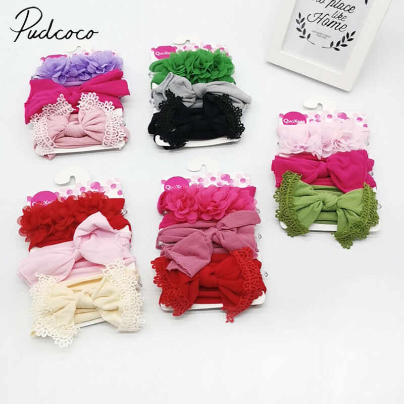 2019 Baby Accessories 3PCS/Set Newborn Infant Baby Kid Bow Headband Soft Turban Floral Headwear Hairband Headwrap Photo Props