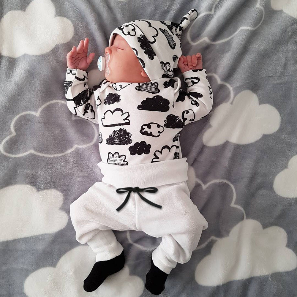 Infant Clothing Outfits T-Shirt Pant Long-Sleeve Cloud-Print Newborn Baby-Boys Cotton