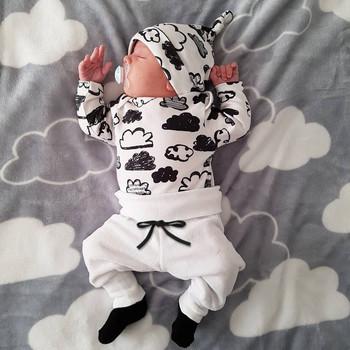 3 szt noworodka zestaw ubrań dla chłopców nadruk w chmury bawełny z długim rękawem T-Shirt + dorywczo jednolity kolor spodnie + kapelusz niemowląt odzież stroje tanie i dobre opinie EGHUNOOY COTTON Na co dzień O-neck Zestawy Swetry Pełna REGULAR Pasuje prawda na wymiar weź swój normalny rozmiar Czesankowej