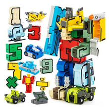 15Pcs Assembly Puzzle Transformer Robot Numbers Armour Symbols DIY kids Game toy