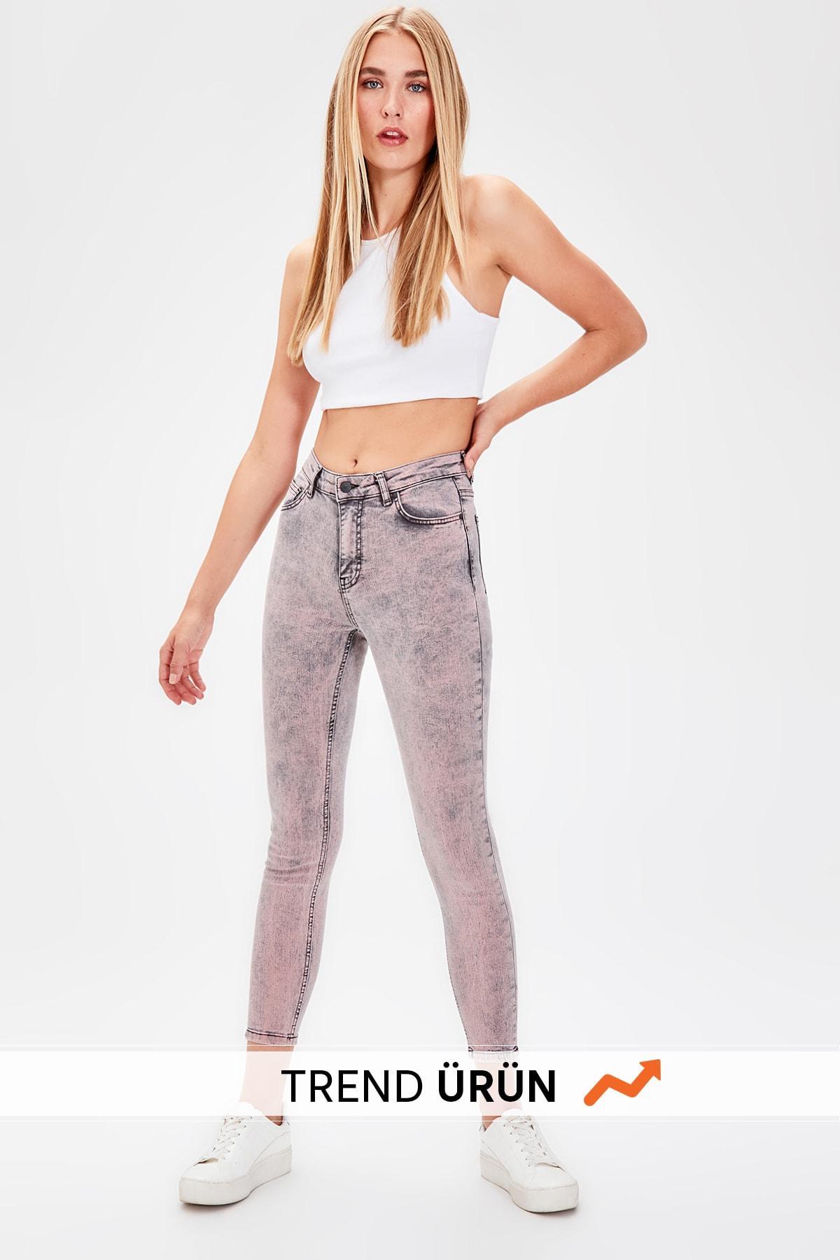 Trendyol Black-Flushing High Waist Skinny Jeans TWOAW20JE0093