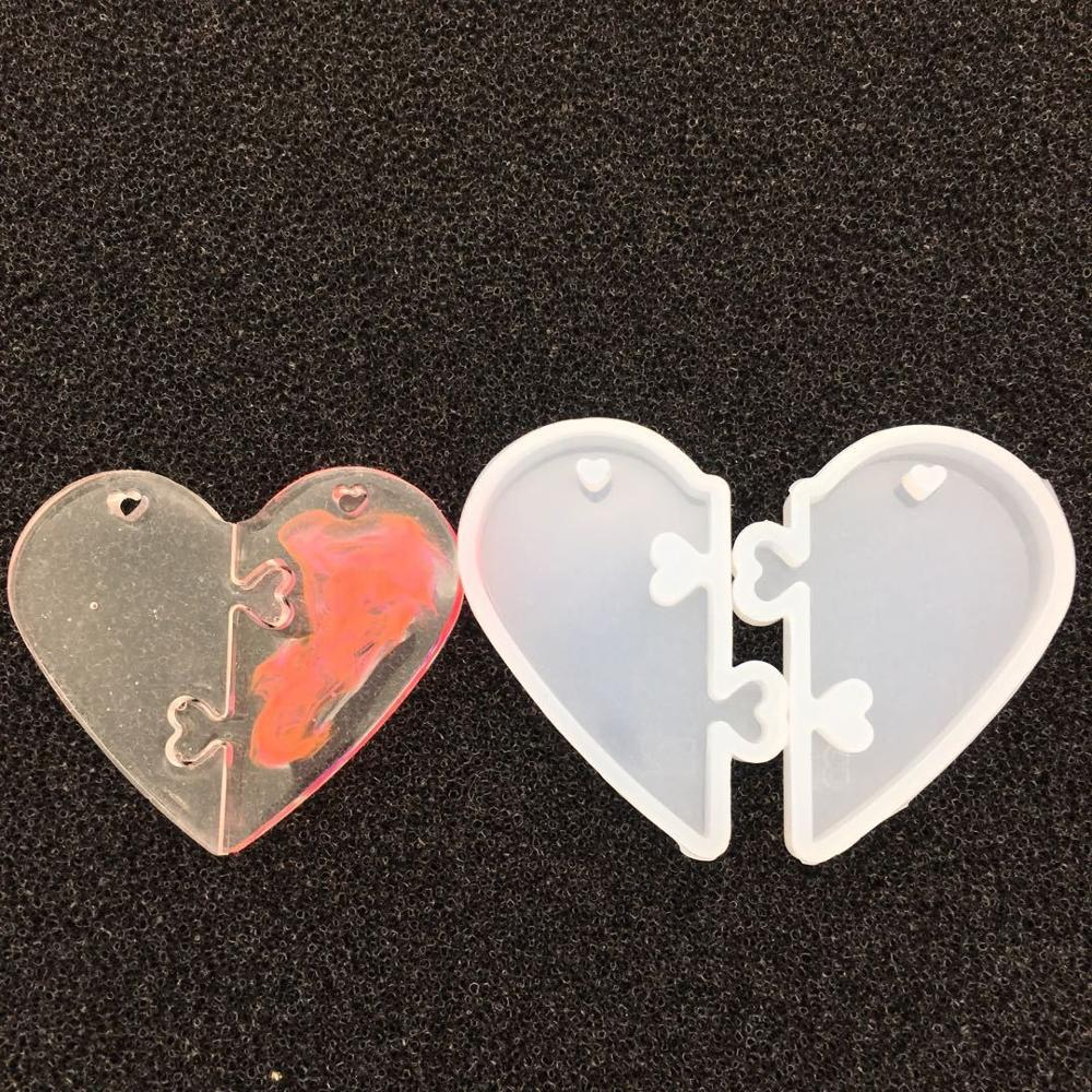 2018 2Pcs Heart Locks For Lovers Pendant Liquid Silicone Mold DIY Epoxy Resin Mould Jewelry Tools