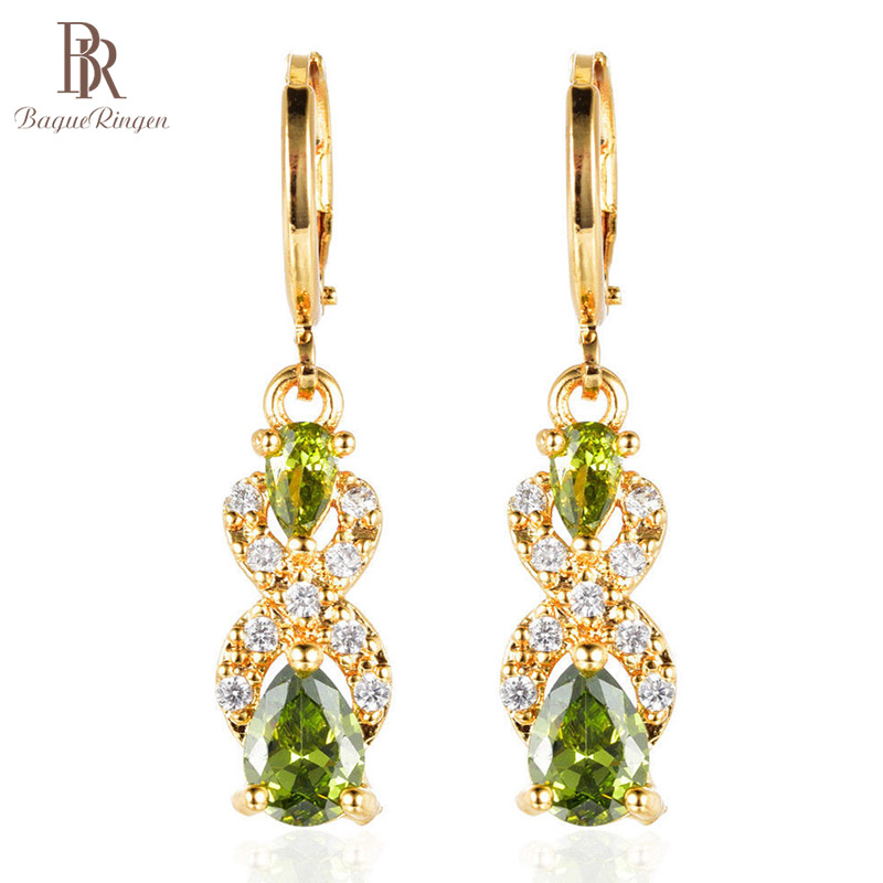 Drop-Earrings Wedding-Jewelry Peridot Gift Bague Gemstone Ringen Elegant Green Women title=