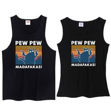 T-Shirt Vest Funny Vintage Men's Fashion Cat Neck Crew Gift Humor Madafakas Novelty Pew