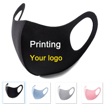 100pcs Mouth Mask Black Custom LOGO Face Mask With logo Anti Dust Face cold silk Mouth Mask for Cycling Camping Travel Washable