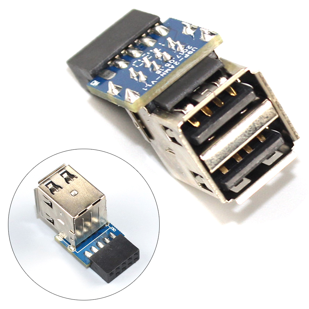 9 Pin To A Type Port Adapter Replacement Stable Easy Install USB 2.0 Durable Double Layer Bluetooth Motherboard Use Mini