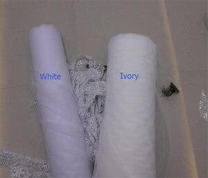 Image 5 - Luksusowe wysokiej jakości białe/kości słoniowej długie welony ślubne długość katedry koronki aplikacja 4M welon slubny z grzebieniem akcesoria ślubne