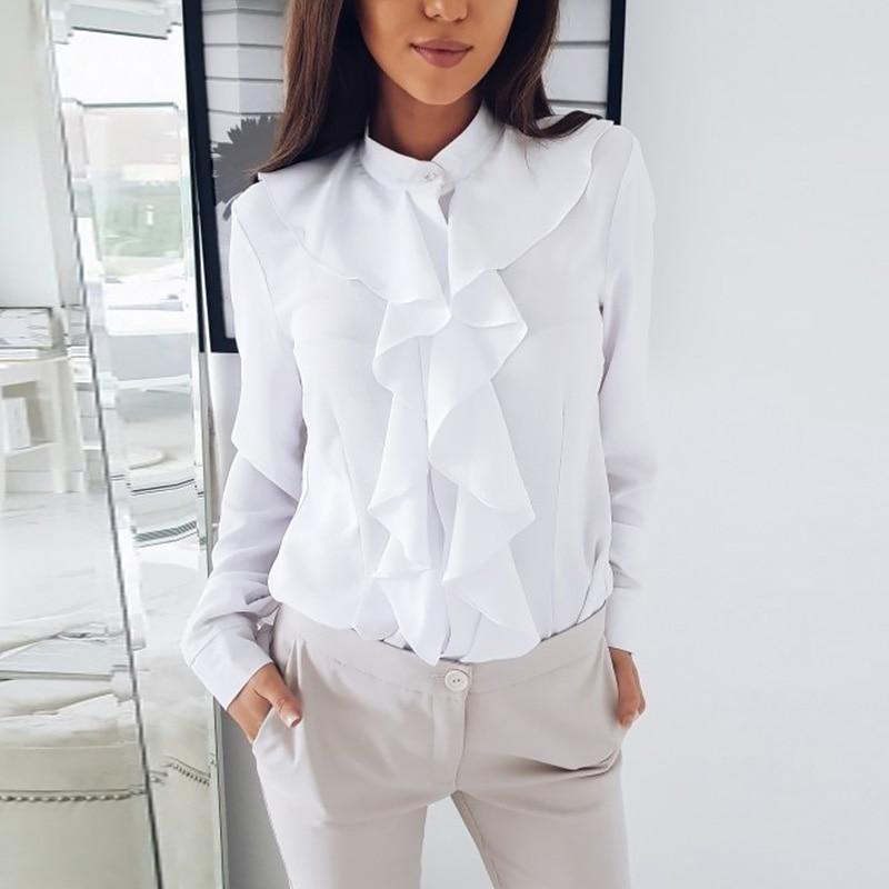 Long Sleeve Ruffled Shirt Women 2020 Fashion Spring Autumn Elegant Blouse Streewear High Quality Pure Color White Black Tops 9