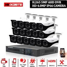 5MP CCTV 시스템 16CH DVR 키트 16pcs 4MP 낮은 조명 카메라 금속 방수 야외 실내 HD CCTV 카메라 시스템 원격보기