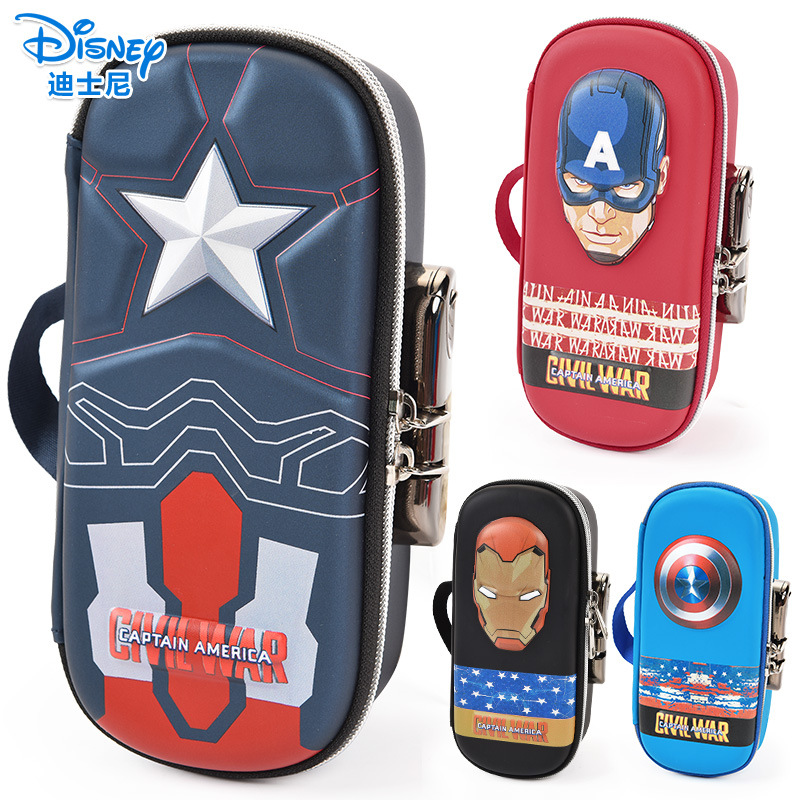 Disney Stationery Password Lock Pen Case Captain America Iron Man School Supplies Student Boy Gift