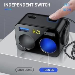 Image 2 - Enchufe de encendedor de coche, cargador Dual USB QC 3,0, carga rápida, 12V, enchufe adaptador de corriente