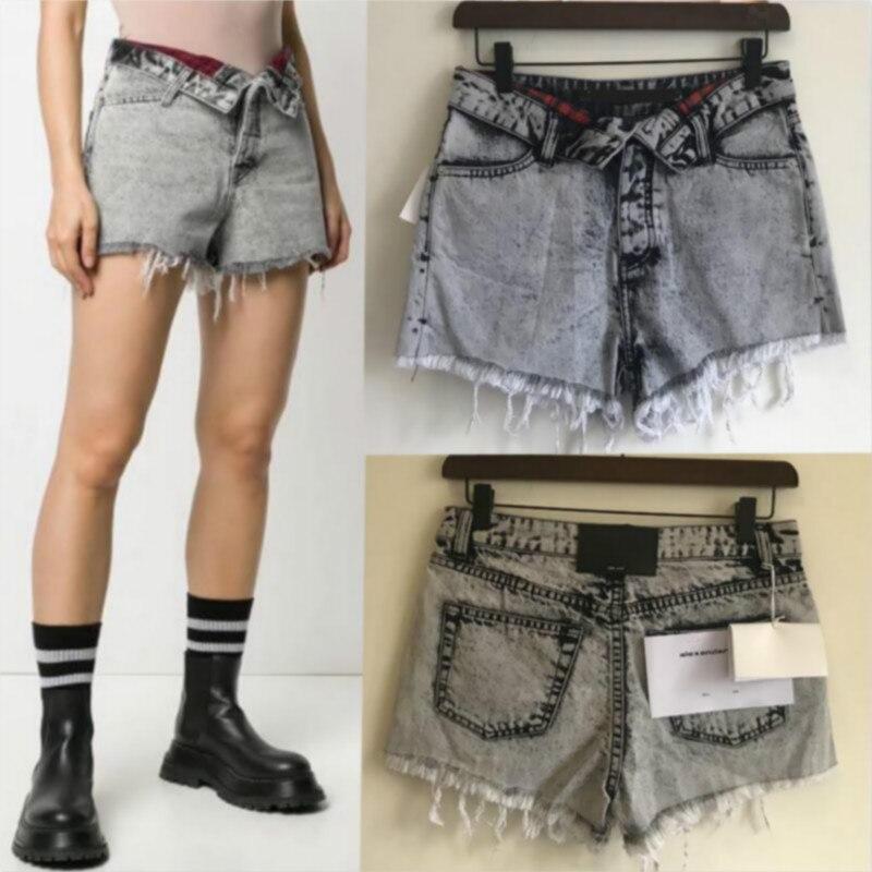 2020 Spring Summer Women's Plaid Pocket Fabric Turned Waist Short, Burr Denim Shorts Pants A2